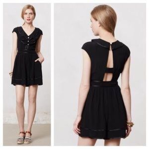 Anthropologie Elevenses Black Romper, Size 2